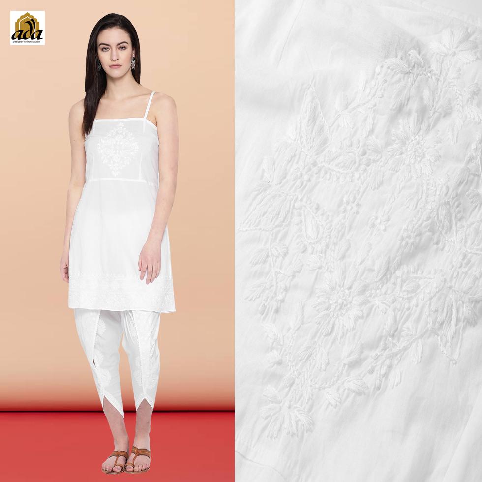 Lucknovi Chikankari white cotton kurti with white Chikan dhoti designed by Ada Designer Chikan studio.