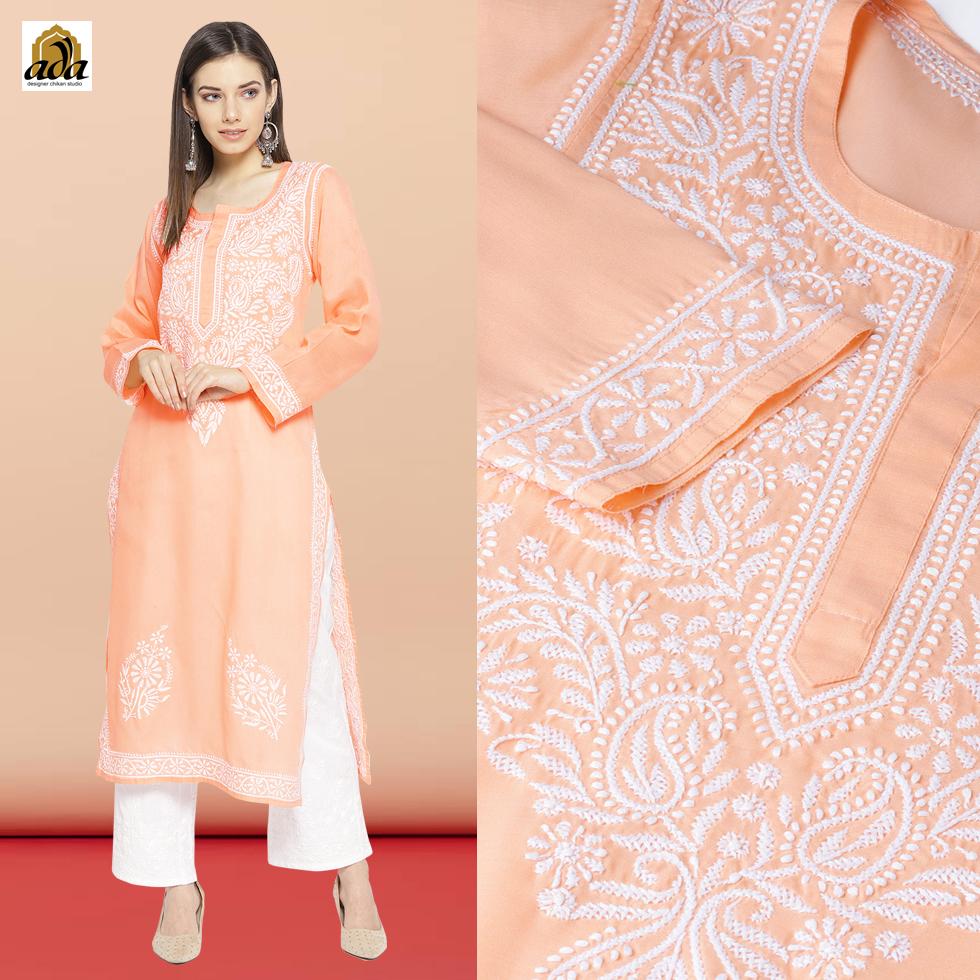 Peach Cotton Lucknowi Chikankari Kurta with white Ada chikan cotton palazzo.