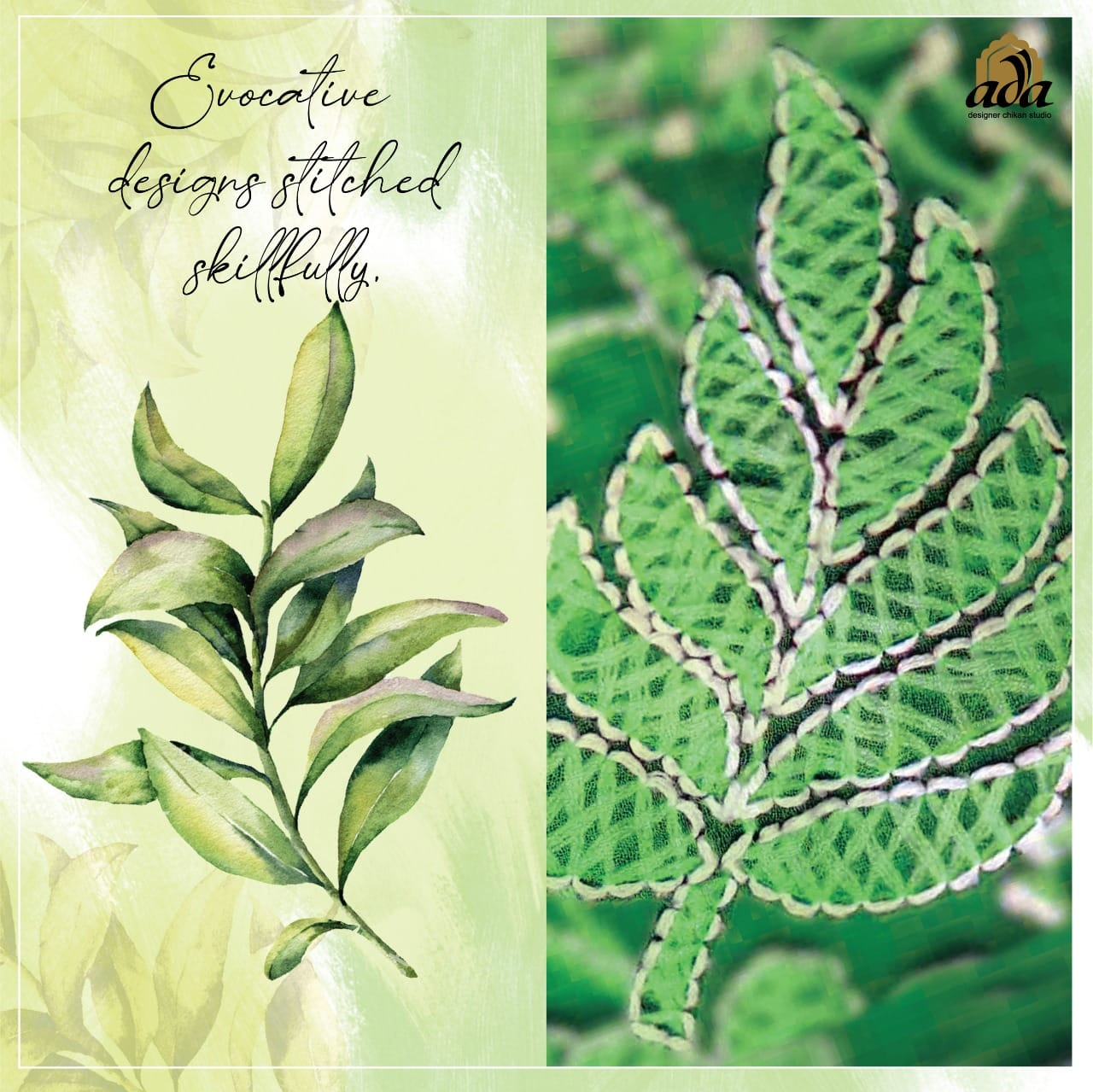 Leaf Greenery Designs in Lucknowi Chikankari inspired by Nature