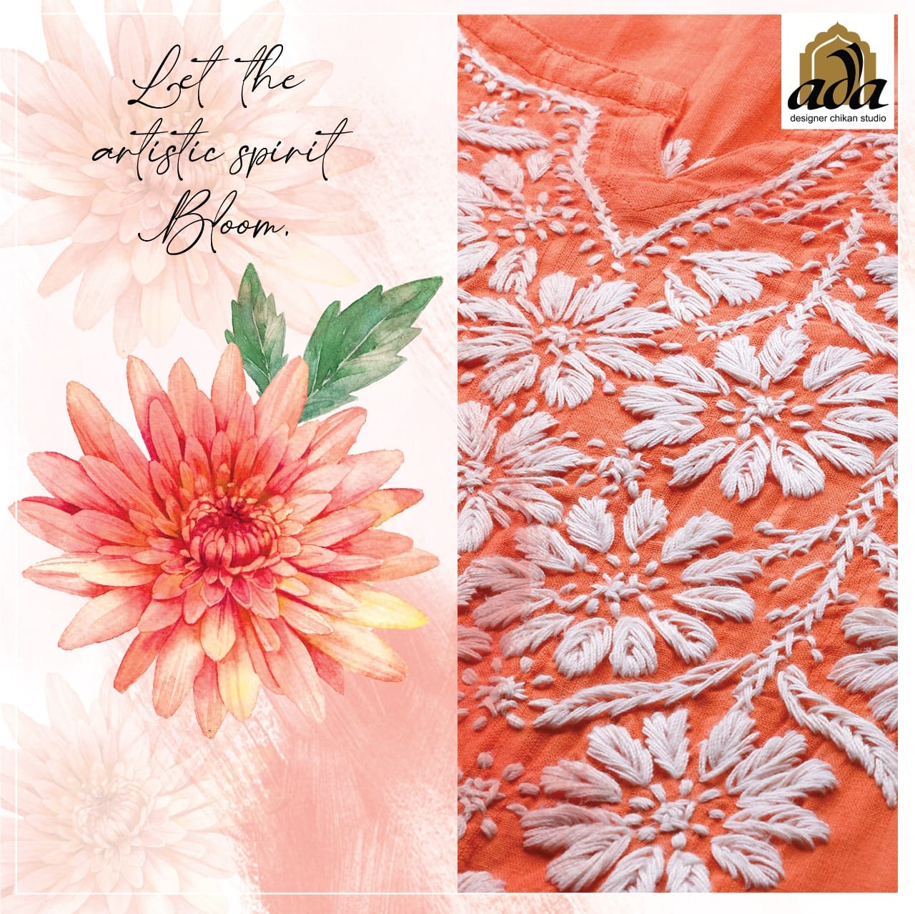 This image depicts Ada Chikan Website Kurti with Floral Motifs in Blog about Nature Inspiration by Artisan to Create Designer Clothing
